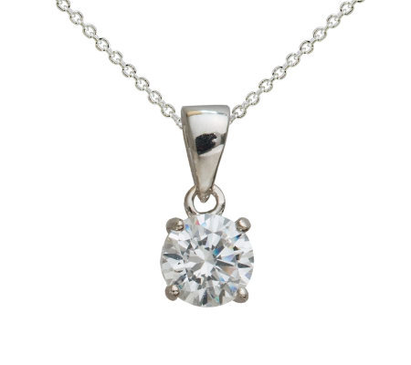 Diamonique 100-Facet 1.00 cttw Round Pendant, Platinum Clad