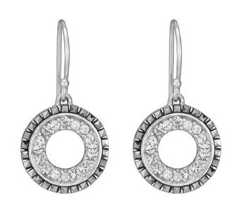 Suspicion Sterling Marcasite and Crystal CircleDrop Earrings - J112466