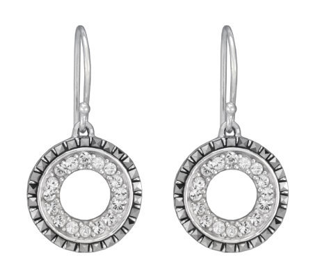 Suspicion Sterling Marcasite and Crystal CircleDrop Earrings
