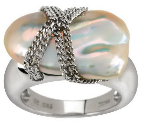 "Honora Cultured Pearl 13.0mm Baroque ""X"" Design Sterling Ring"