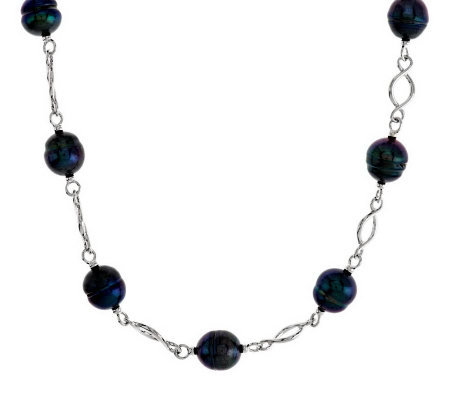 "Honora Cultured Pearl 20"" Twisted Link Sterling Necklace"