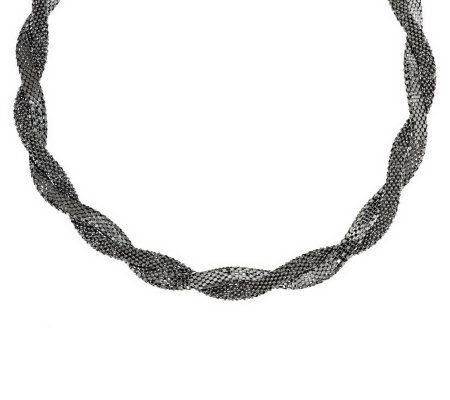 Italian Silver Sterling Bold Double Wrapped Coreana Necklace