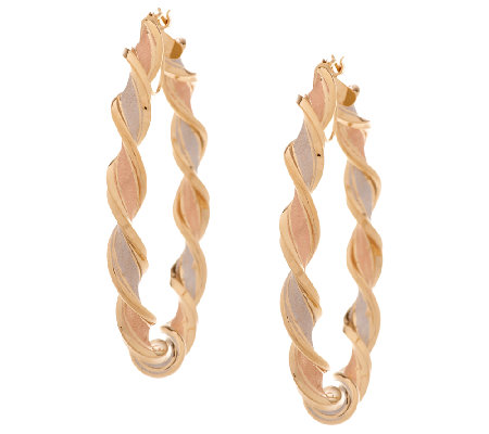"Vicenza Gold 2"" Tri-Color Satin Twist Tube Hoop Earrings, 14K"