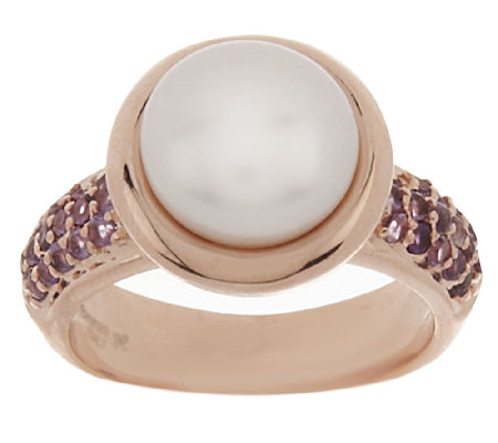 Honora Cultured Pearl 9.0mm and Gemstone Bronze Ring
