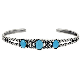 Sleeping Beauty Turquoise Sterling Silver 3-Stone Cuff by American West - J294566