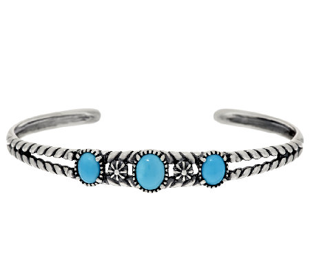 Sleeping Beauty Turquoise Sterling Silver 3-Stone Cuff by American West