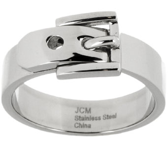 Stainless Steel Polished Buckle Design Ring - J296666