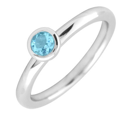 Simply Stacks Sterling 4mm Round Aquamarine Solitaire Ring