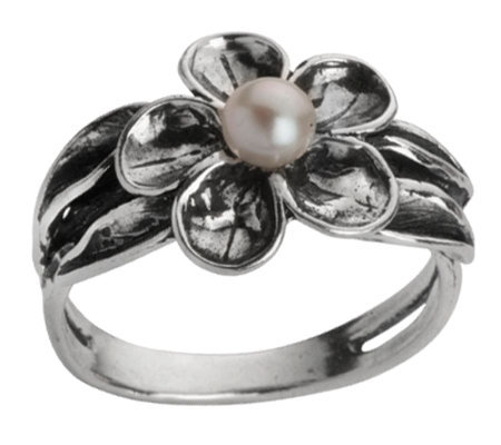 Or Paz Sterling Cultured Freshwater Pearl Flower Ring