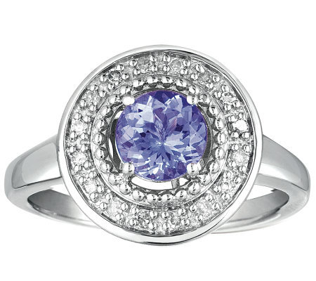 Sterling Round Tanzanite and Diamond Accent Ring