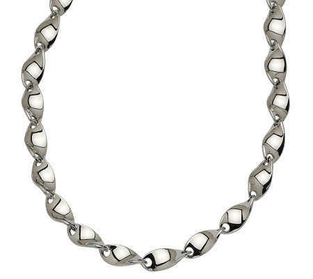 "Stainless Steel 20"" Polished & Twisted Necklace"