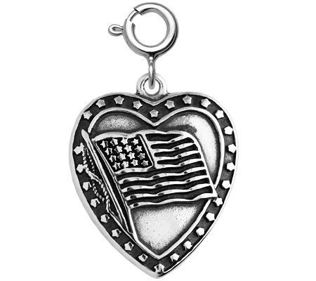 Sterling Flag Heart Charm