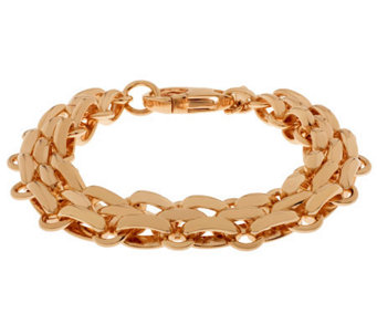 "Bronze 7-1/4"" Fancy Oval Link Bracelet by Bronzo Italia - J311966"