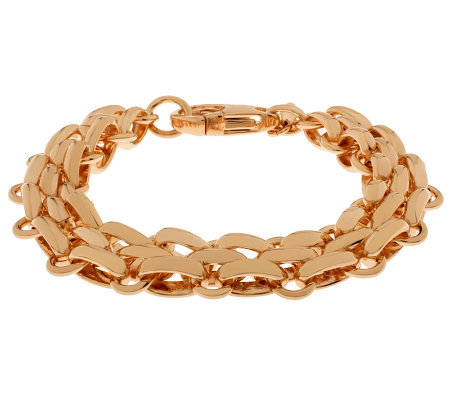 "Bronze 7-1/4"" Fancy Oval Link Bracelet by Bronzo Italia"
