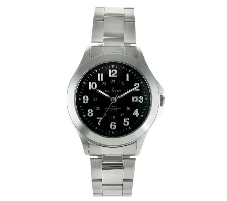 Peugeot Men's Black Dial Stainless Steel Watch