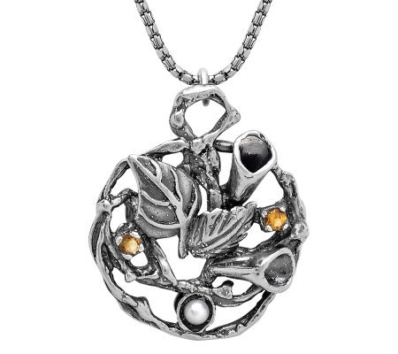Or Paz Sterling Cultured Pearl and Citrine Pendant w/ Chain
