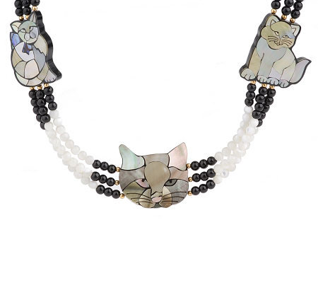 Lee Sands Triple Strand Curious Cat Inlay Necklace