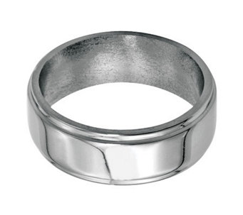 Stainless Steel 8mm Ridged Edge Polished Ring - J314266