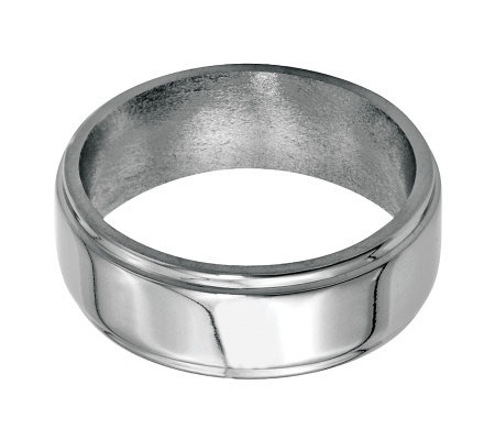 Stainless Steel 8mm Ridged Edge Polished Ring