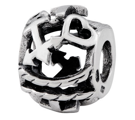 Prerogative Sterling Cross Heart Anchor Bali Bead