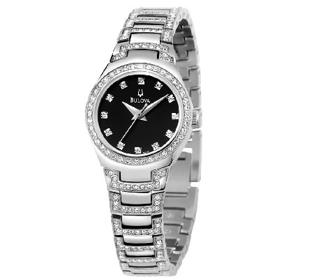 Bulova Ladies Crystal Accented Black Dial Bracelet Watch