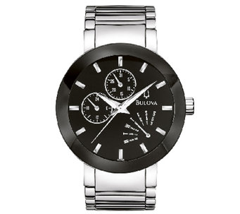 Bulova Men's Stainless Steel Black Dial Watch - J316466