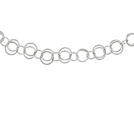 "Sterling 24"" Polished & Textured Circle Double-Link Necklace"