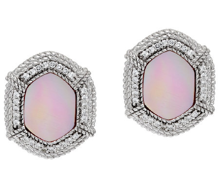 Judith Ripka Sterling Pink Mother-of-Pearl & Diamonique Stud Earrings