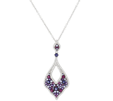 Graziela Gems Multi-Gemstone Sterling Silver Pendant w/Chain 2.70 ct tw