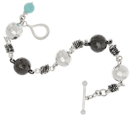 Michael Dawkins Sterling Faceted Bead Station Toggle Bracelet