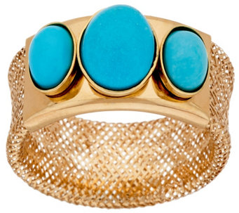 Vicenza Gold Three Stone Turquoise Mesh Stretch Ring, 14K - J320466