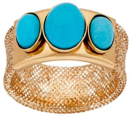 Vicenza Gold Three Stone Turquoise Mesh Stretch Ring, 14K