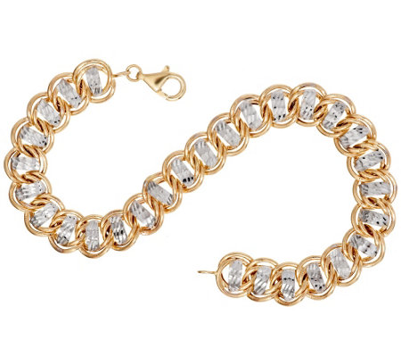 """As Is"" 14K Gold 8"" Diamond Cut Curb Link Bracelet, 6.7g"