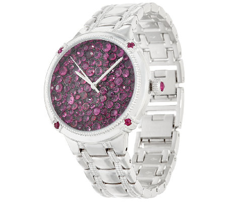 Ecclissi Facets Pave' Ruby Stainless Steel Watch 7.00 cttw