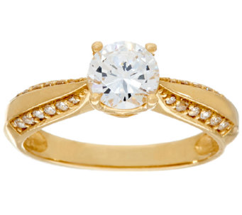 Diamonique 1.00ct Solitaire Ring, 14K Gold - J325066