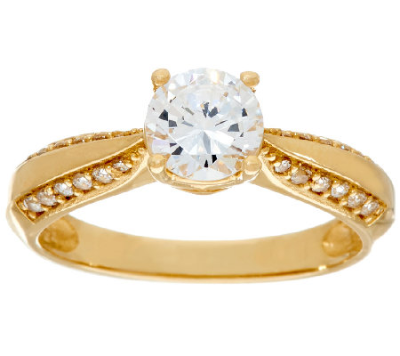 Diamonique 1.00ct Solitaire Ring, 14K Gold