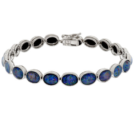 """As Is"" Australian Opal Triplet 8"" Sterling Tennis Bracelet"