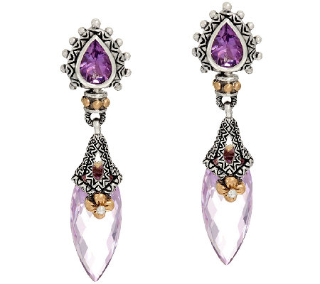 Barbara Bixby Sterling & 18K 9.20 cttw Gemstone Drop Earrings