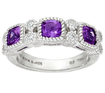 Judith Ripka Sterling Gemstone & Diamonique Ring - J327066