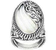 Carolyn Pollack Sterling Carved Mother-of-Pearl Ring