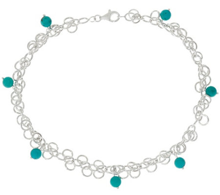 """As Is"" Turquoise Bead Dangle Sterling Silver Ankle Bracelet"