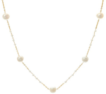 "Honora 14K Gold Cultured Pearl 18"" Station Necklace"