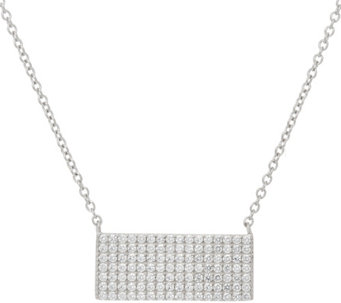 "Diamonique 18"" Pave' Bar Necklace, Sterling or 18K Plated - J329866"