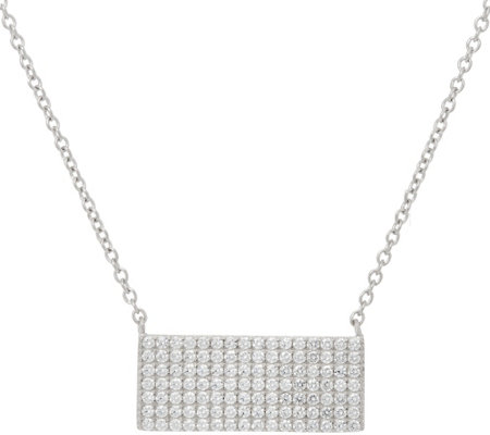 "Diamonique 18"" Pave' Bar Necklace, Sterling or 18K Plated"