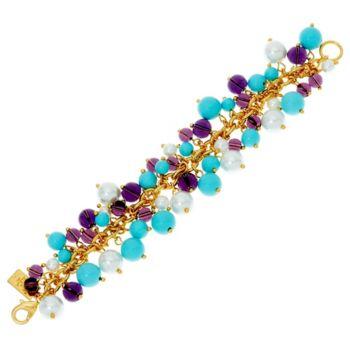 The Elizabeth Taylor Blue and Purple Cluster Bead Bracelet