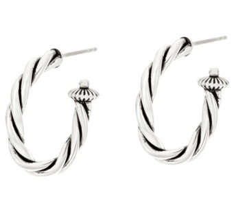"Sterling Silver Rope Design 1"" Hoop Earrings by American West - J330566"