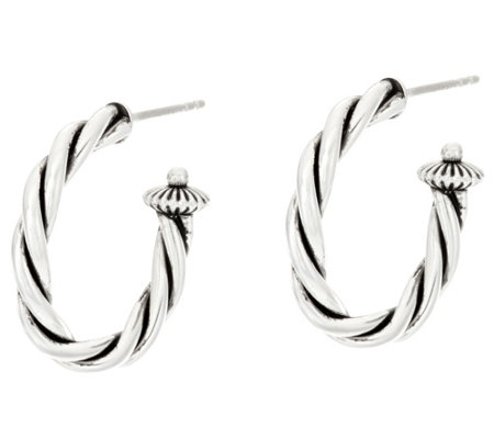 "American West Sterling Silver Rope Design 1"" Hoop Earrings"