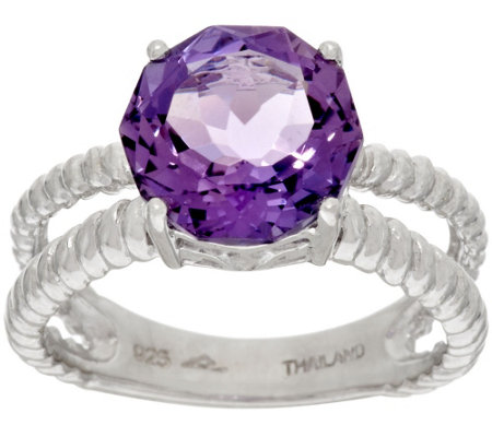"""As Is"" 100- Facet Gemstone Sterling Silver Ring 2.90 ct tw"
