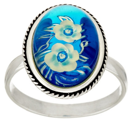 """As Is"" Blue Baltic Amber Flower Design Sterling Ring"
