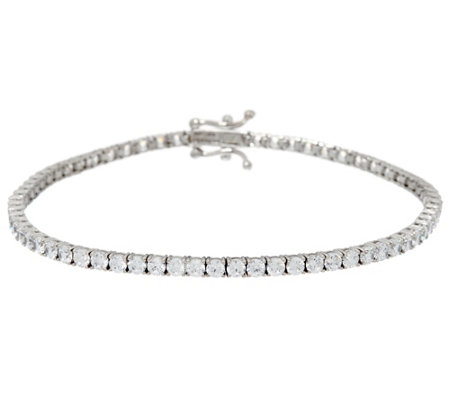 Diamonique 14K Gold Round Tennis Bracelet, Small
